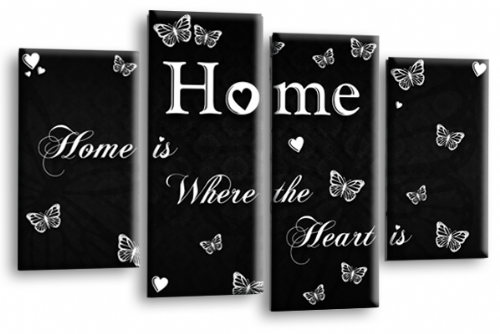 Home Quote Wall Art Print Black White Love Split Picture